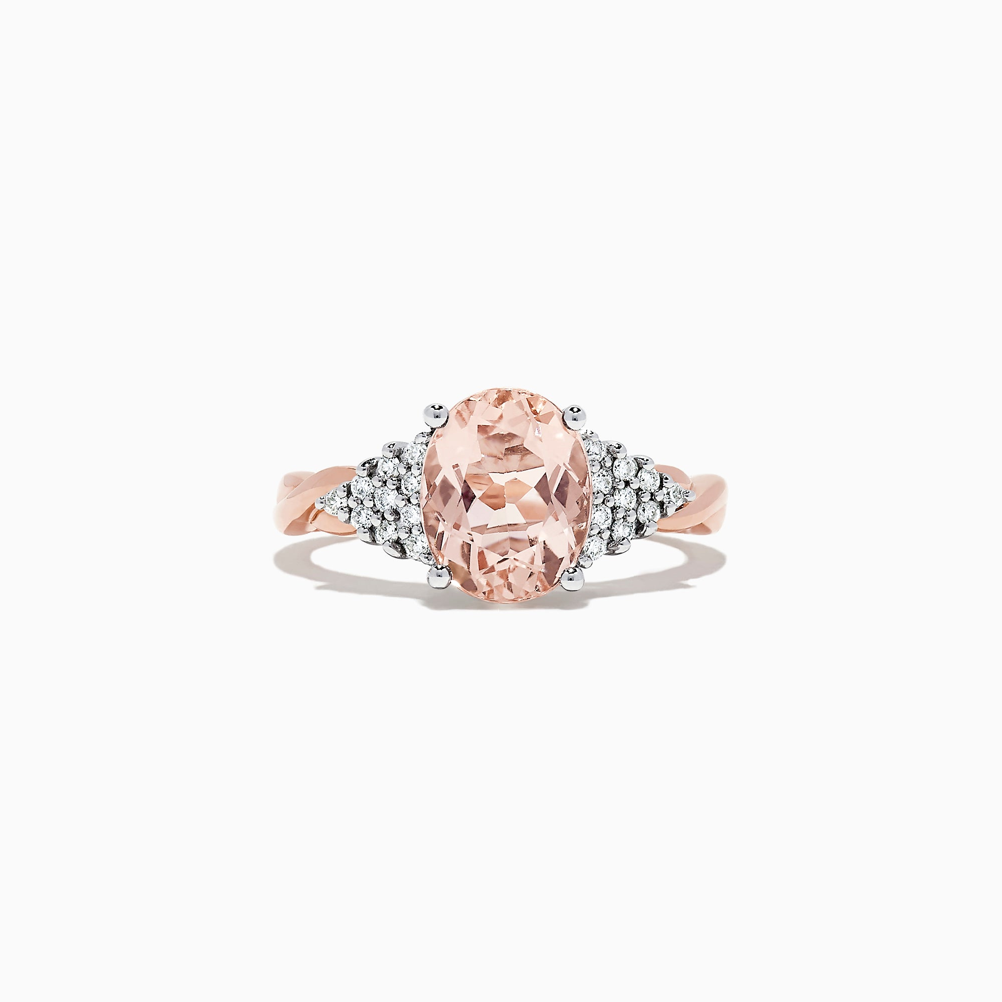 Effy Blush 14K Two Tone Gold Morganite and Diamond Ring, 2.64 TCW