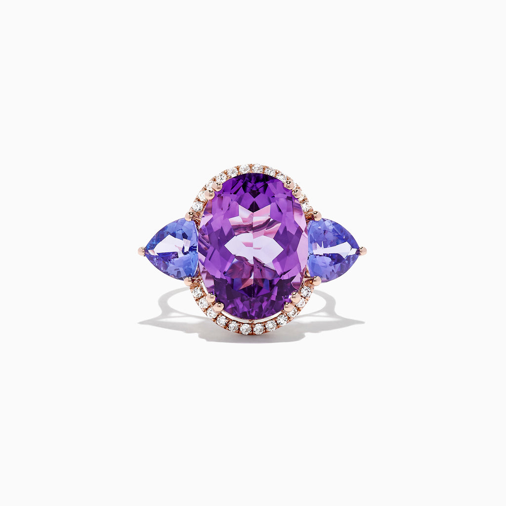 Effy 14K Rose Gold Amethyst, Tanzanite and Diamond Ring, 10.28 TCW
