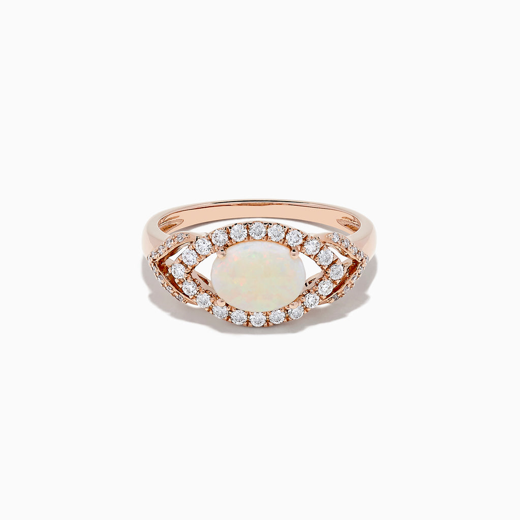 Effy Aurora 14K Rose Gold Opal and Diamond Evil Eye Ring, 0.96 TCW