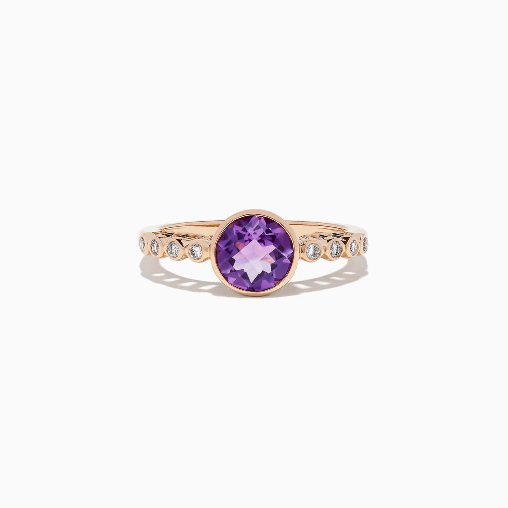 Effy 14K Rose Gold Amethyst and Diamond Ring, 1.31 TCW