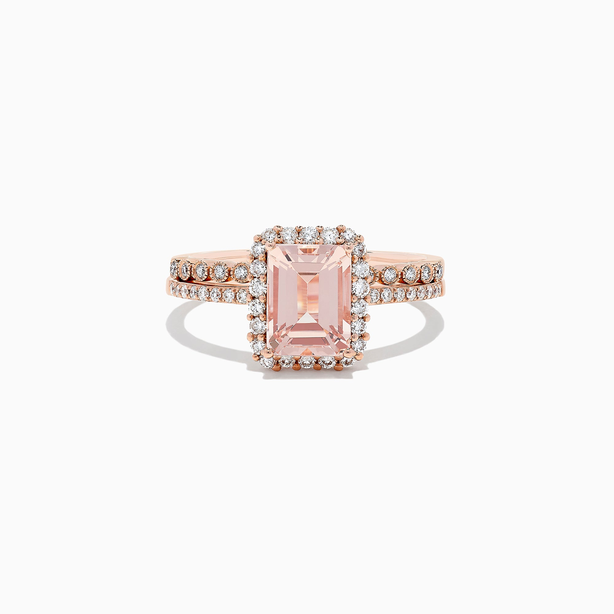 Effy Blush 14K Rose Gold Morganite and Diamond Ring, 1.53 TCW