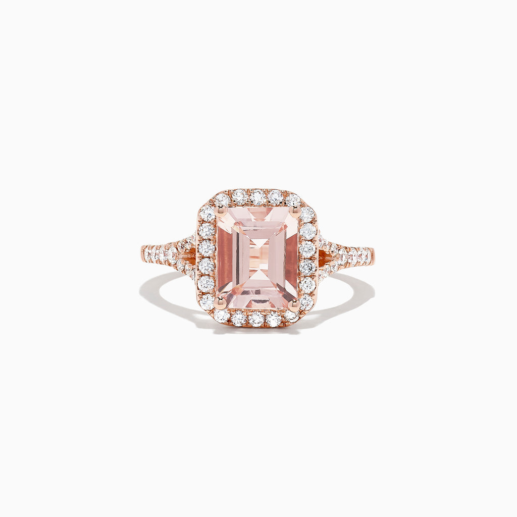 Effy Blush 14K Rose Gold Morganite and Diamond Ring, 2.70 TCW