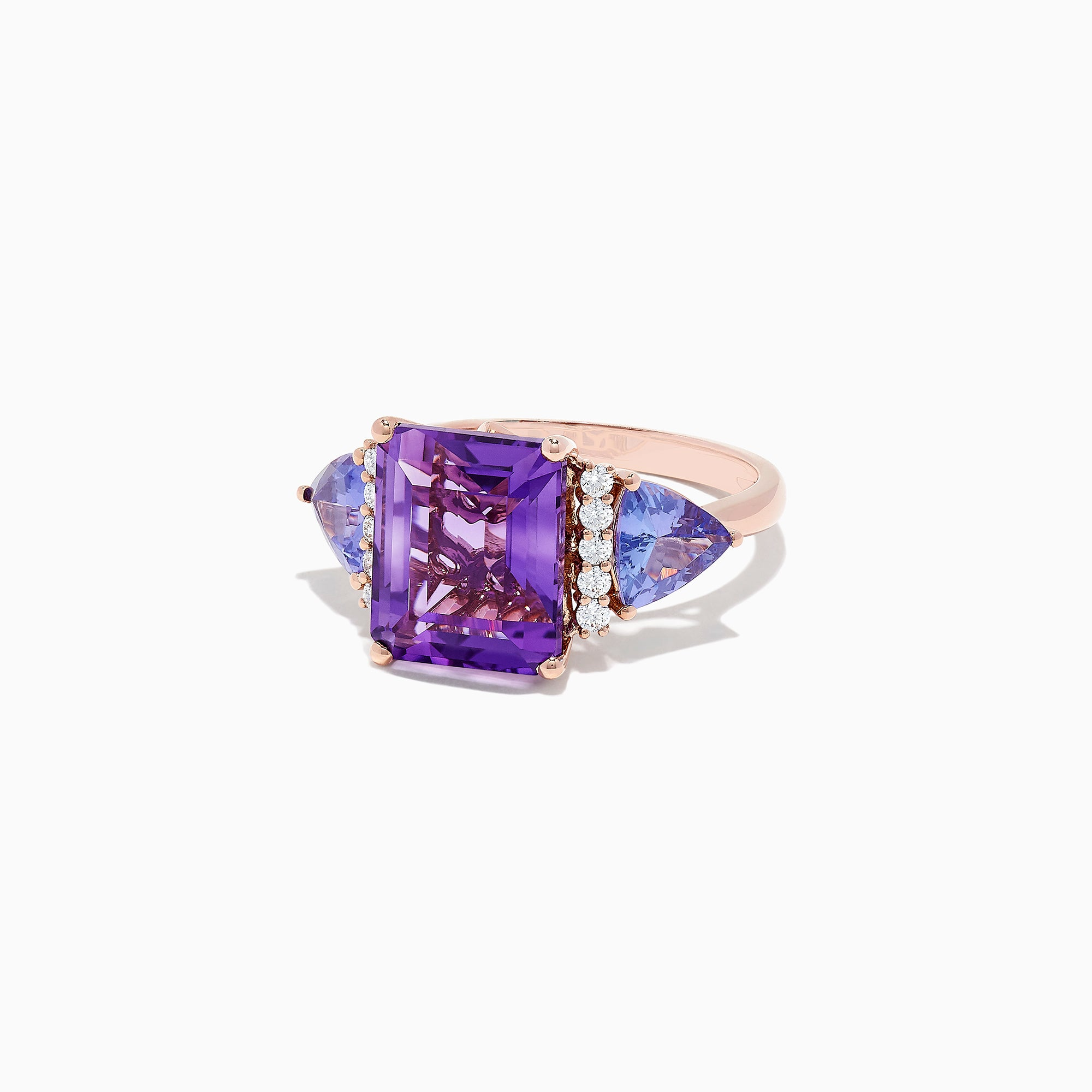 Effy 14K Rose Gold Amethyst, Tanzanite and Diamond Ring, 7.49 TCW