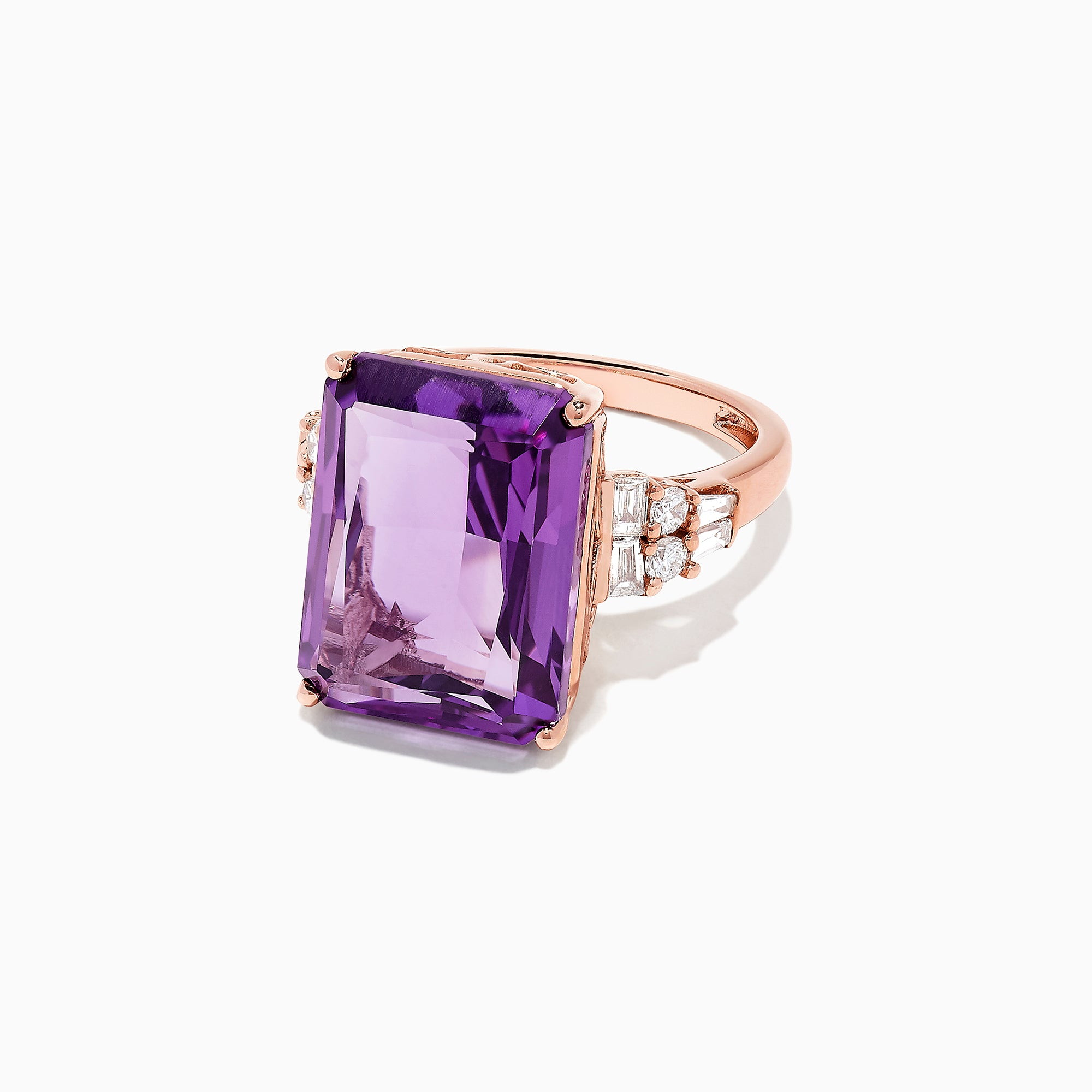 Effy 14K Rose Gold Amethyst and Diamond Cocktail Ring, 11.94 TCW