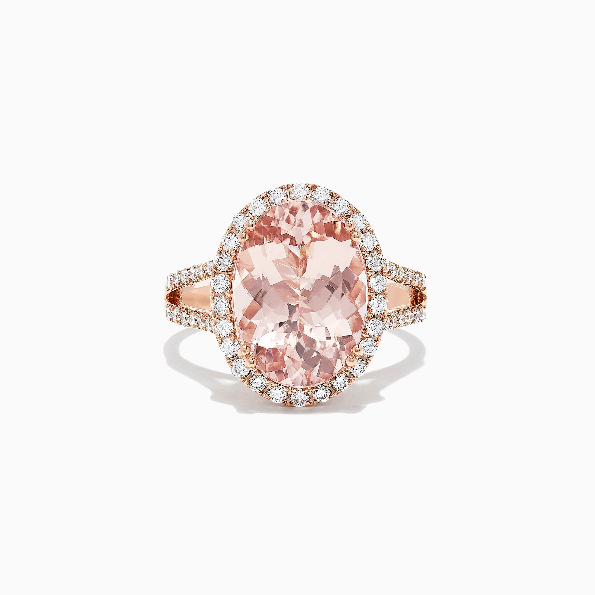 Effy Blush 14K Rose Gold Morganite and Diamond Ring, 6.13 TCW
