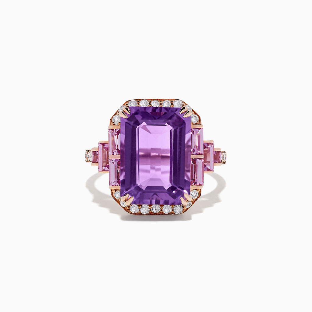 Effy 14K Rose Gold Amethyst, Pink Tourmaline Diamond Ring, 8.02 TCW