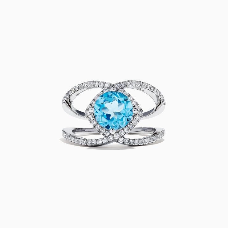 Effy 14K White Gold Blue Topaz and Diamond Ring, 2.84 TCW