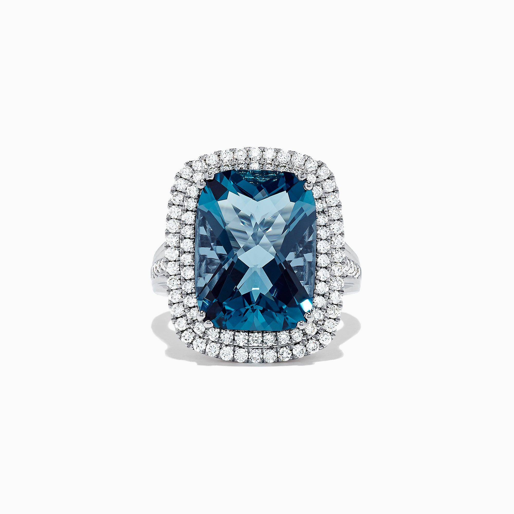 Effy Ocean Bleu 14K White Gold London Blue Topaz and Diamond Ring, 8.39 TCW