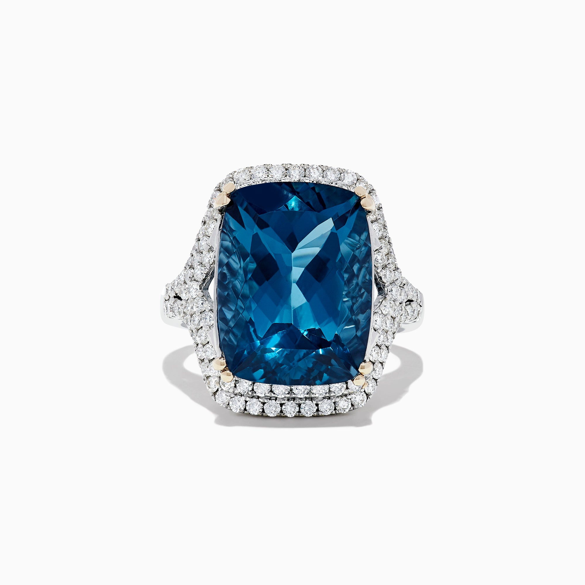 Effy 14K White Gold London Blue Topaz and Diamond Cocktail Ring, 16.85 TCW