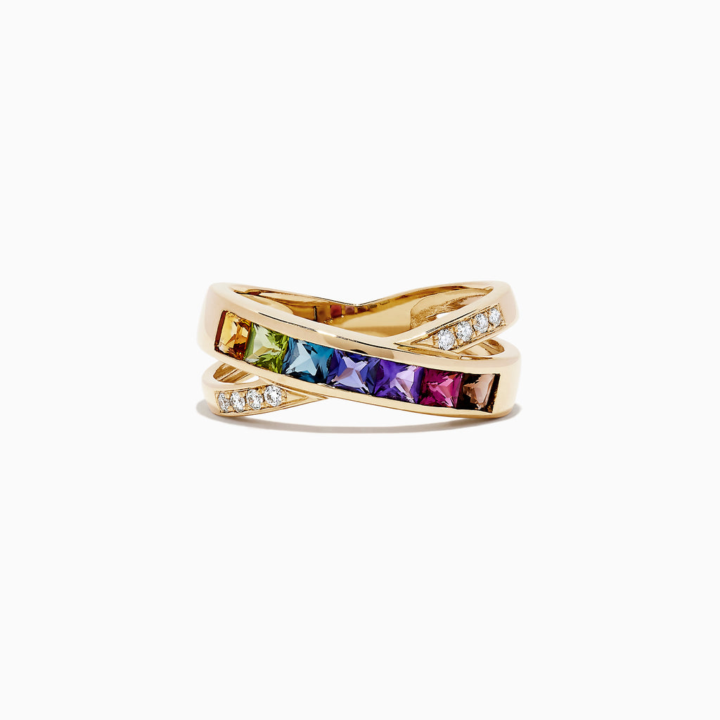 Effy Mosaic 14K Yellow Gold Multi Gemstone and Diamond Ring, 1.18 TCW