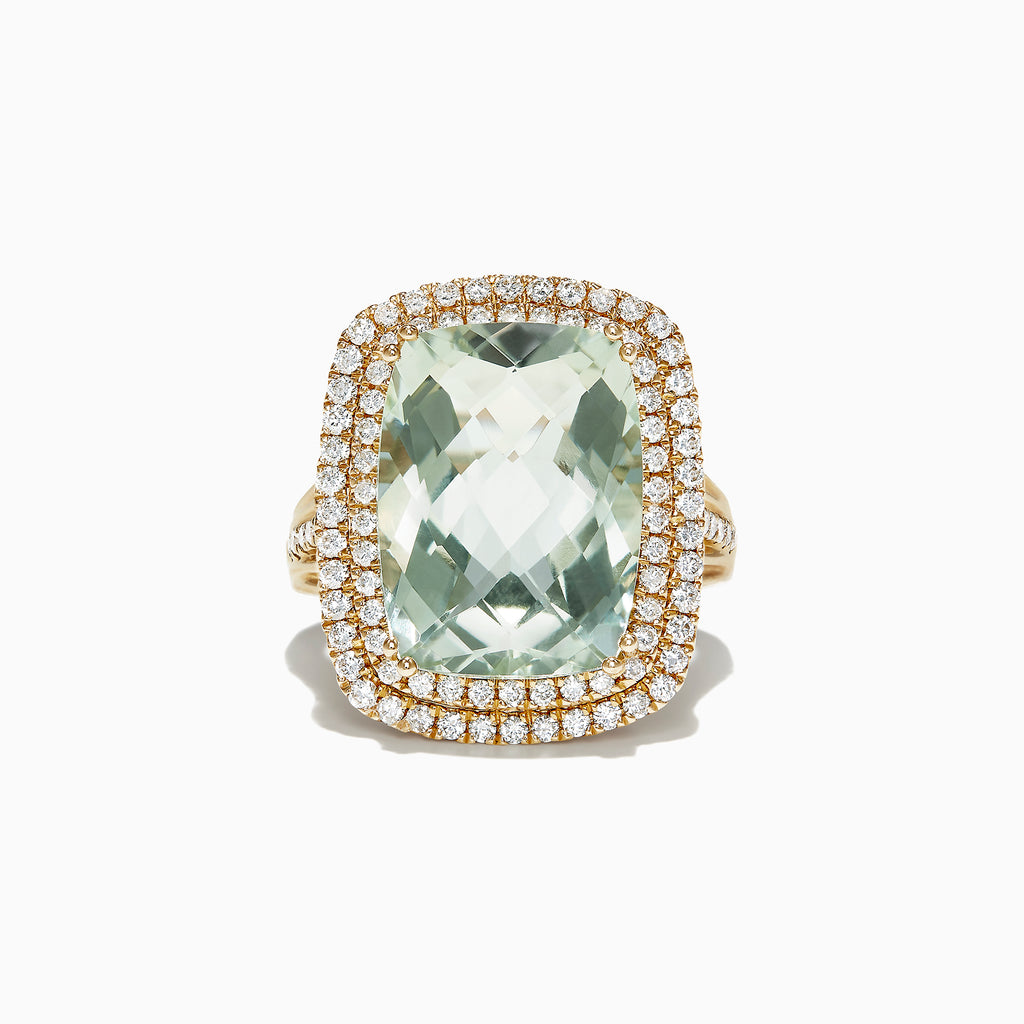 Effy 14K Yellow Gold Green Amethyst and Diamond Cocktail Ring, 11.22 TCW