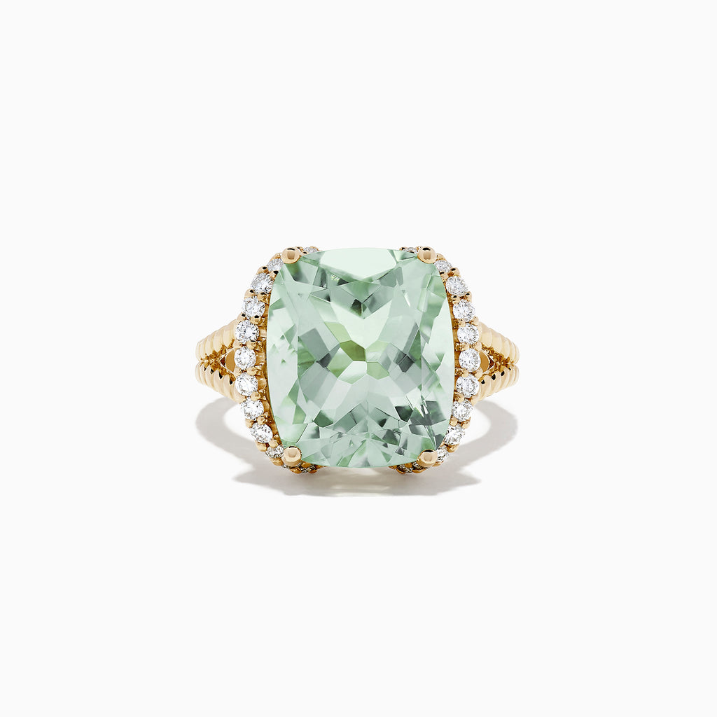 Effy 14K Yellow Gold Green Amethyst and Diamond Cocktail Ring, 7.63 TCW