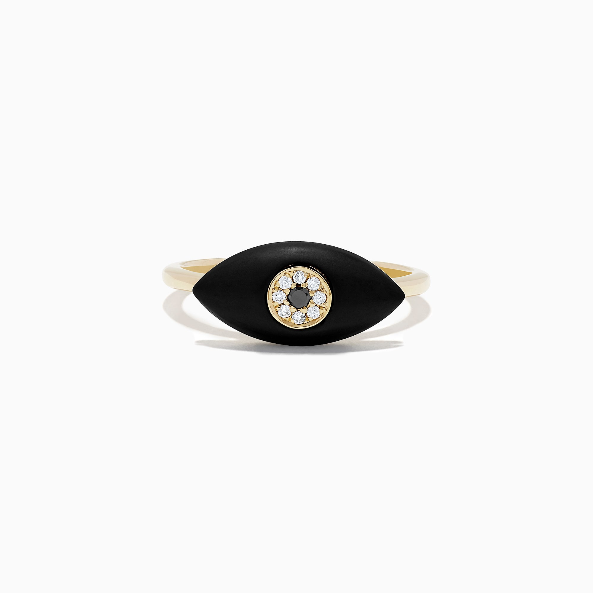 Effy Novelty 14K Yellow Gold Onyx and Diamond Evil Eye Ring, 1.25 TCW