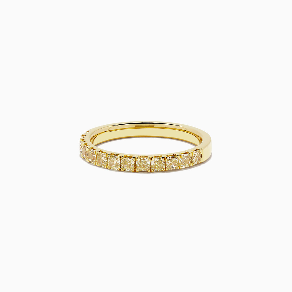 18K Yellow Gold Yellow Diamond Half Eternity Band, 0.77 TCW