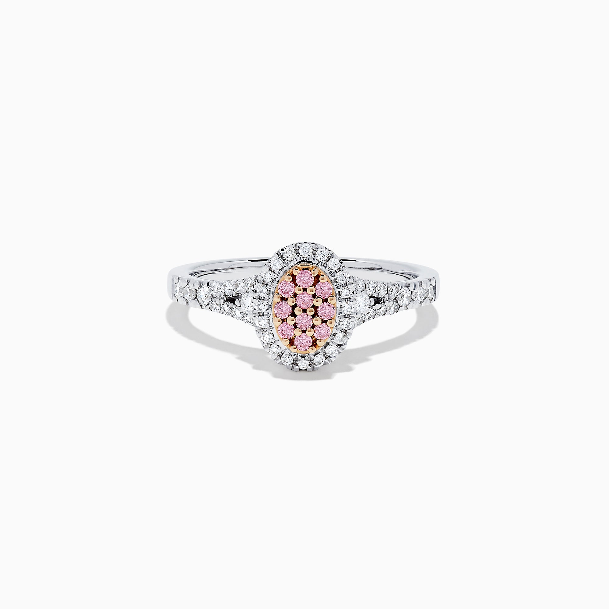 18K Two Tone Gold Pink and White Diamond Ring, 0.37 TCW