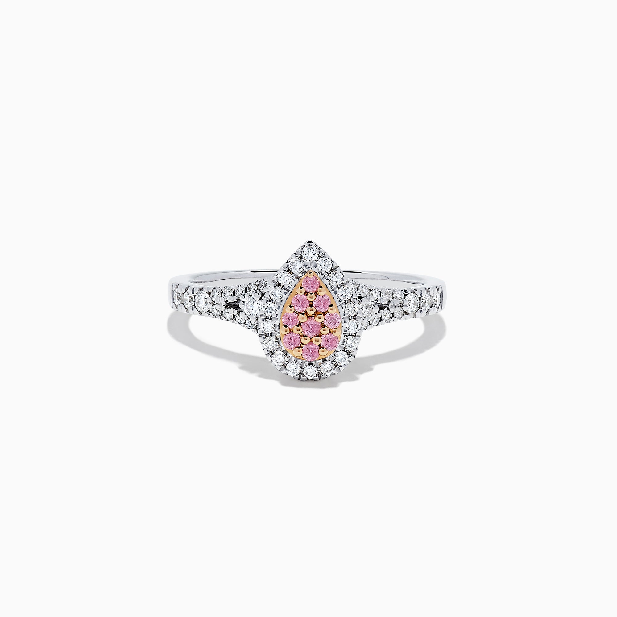 18K Two Tone Gold Pink and White Diamond Ring, 0.35 TCW