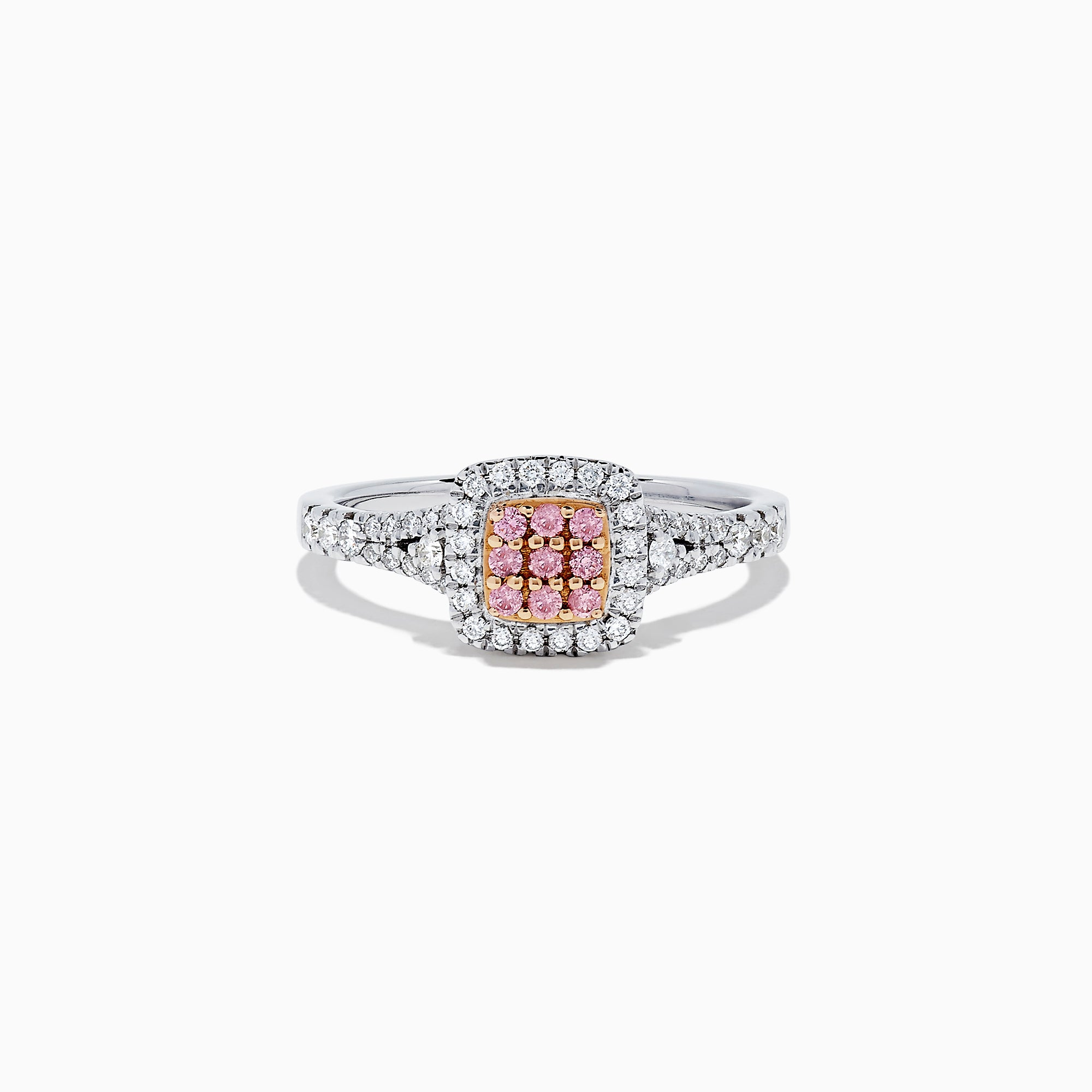 18K Two Tone Gold Pink and White Diamond Ring 0.37 TCW