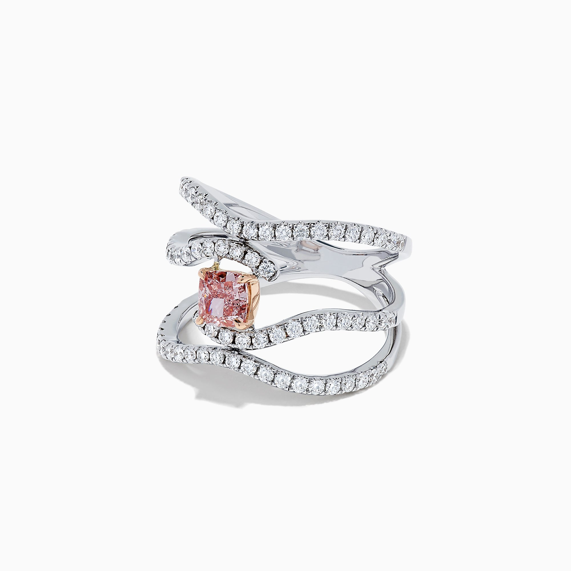 18K Gold White and GIA Certified Pinkish-Brown Diamond Ring, 1.29 TCW