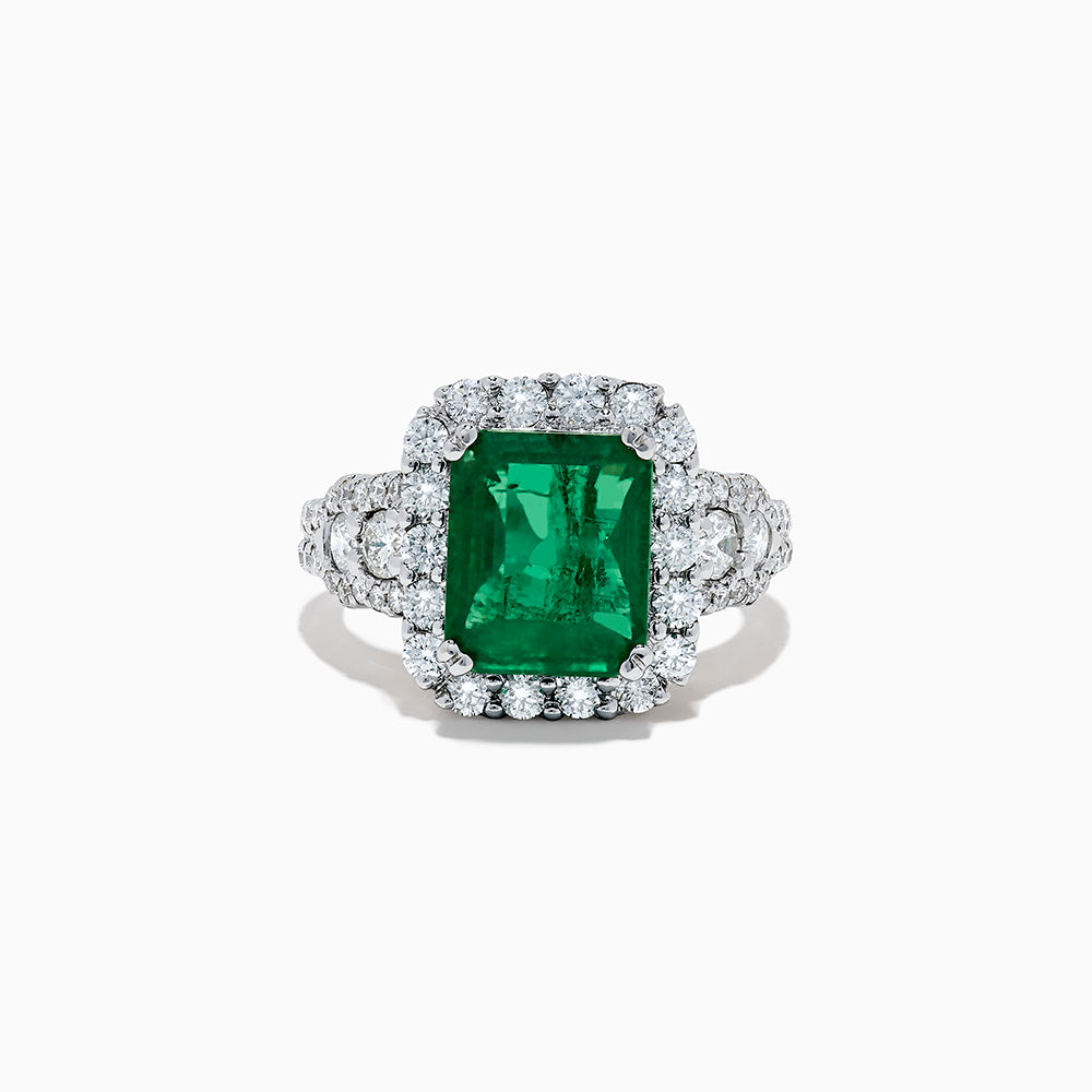 Effy Hematian 18K White Gold Emerald and Diamond Ring, 4.90 TCW
