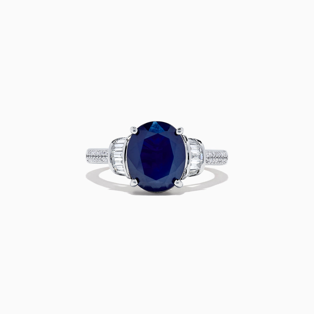 Effy Royale Bleu 14K White Gold Blue Sapphire and Diamond Ring, 4.02 TCW