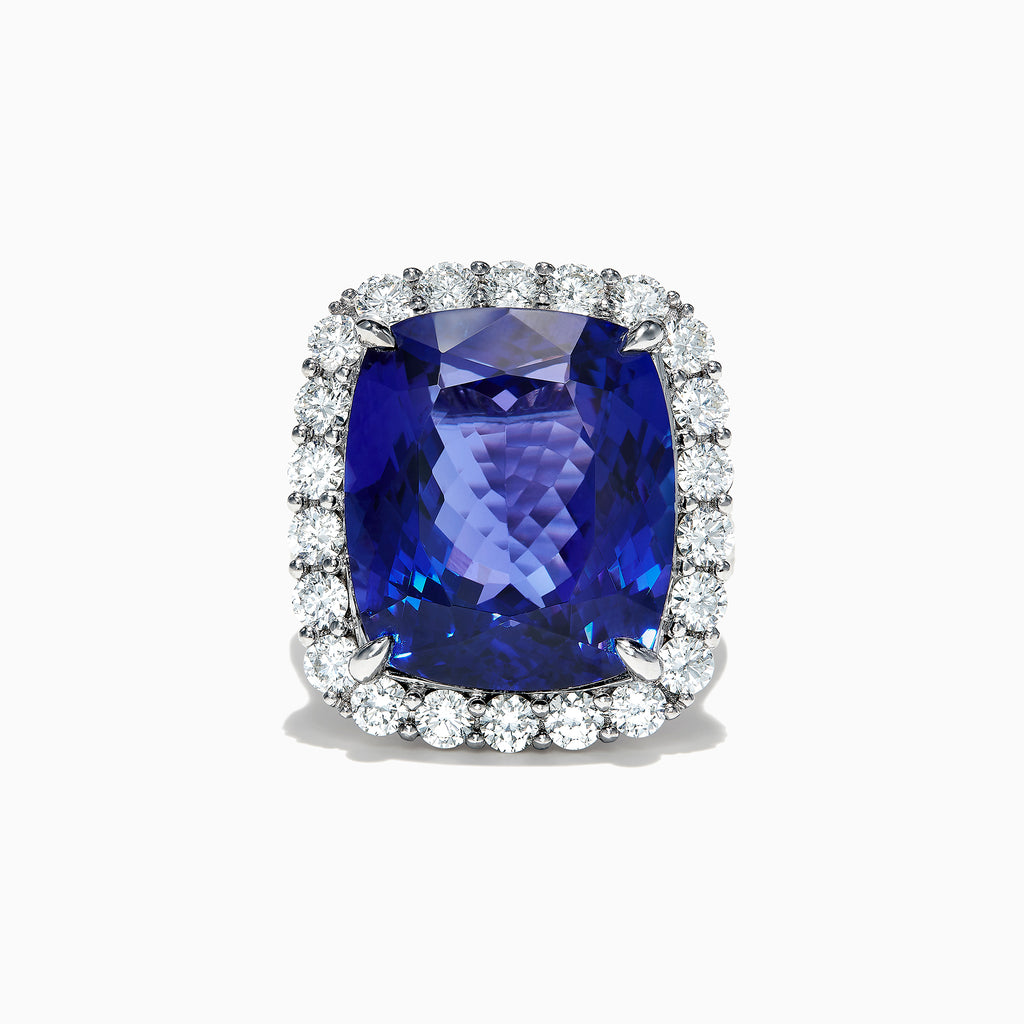 Effy 18K White Gold Tanzanite and Diamond Cocktail Ring, 23.36 TCW