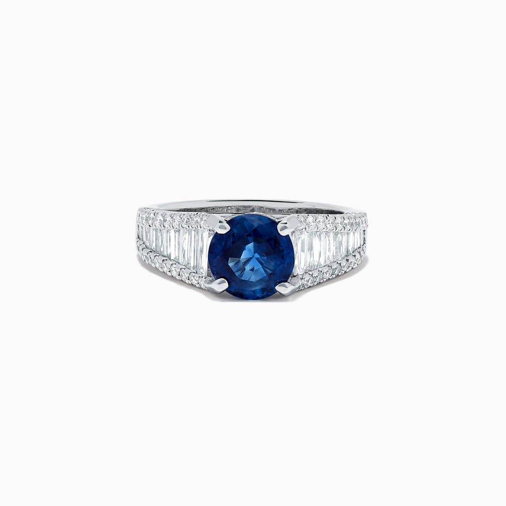 Effy Royale Bleu 18K White Gold Blue Sapphire and Diamond Ring, 4.00 TCW
