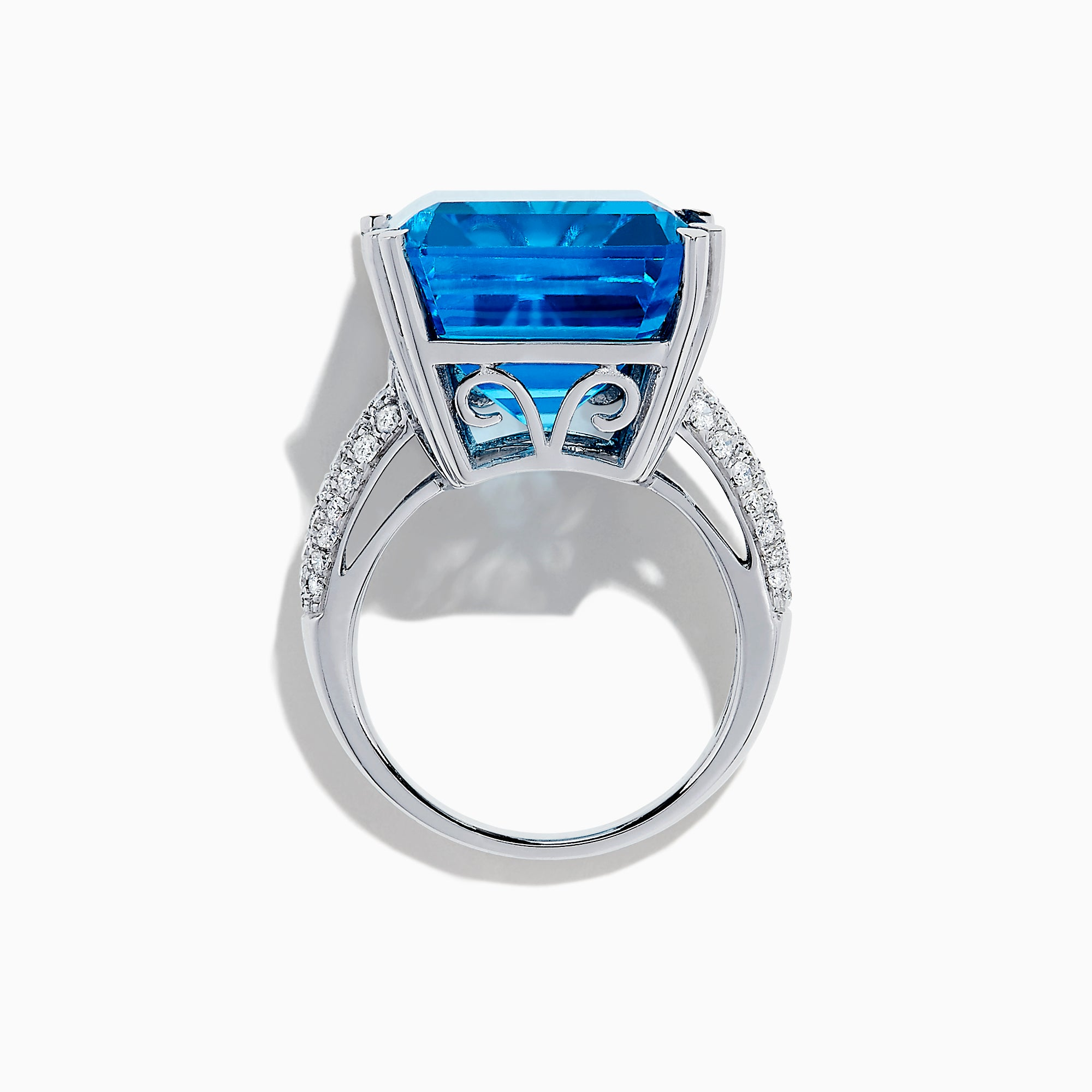 14K White Gold Blue Topaz and Diamond Ring, 29.29 TCW