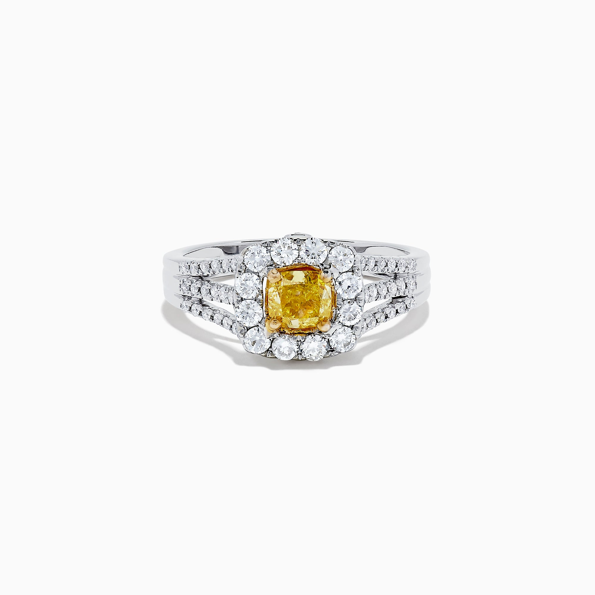 14K Two Tone Gold Yellow and White Diamond Ring, 1.22 TCW