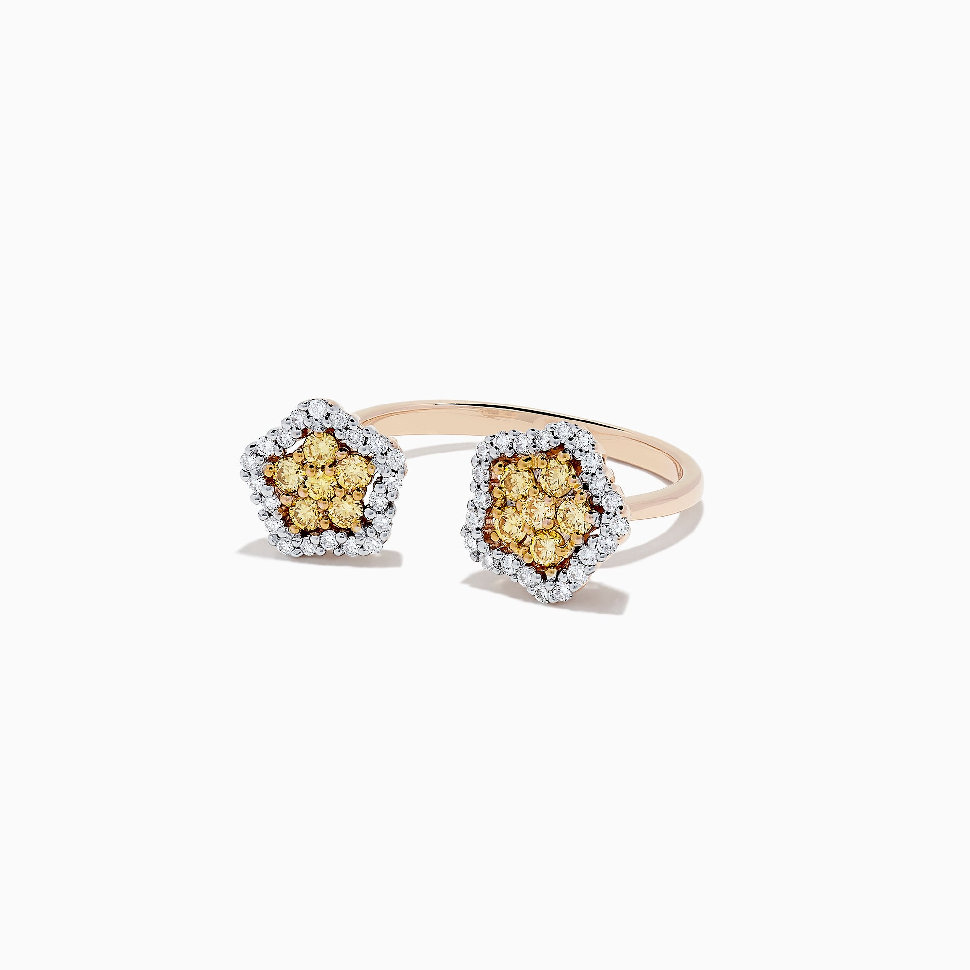 14K Rose Gold Yellow and White Diamond Star Ring, 0.75 TCW