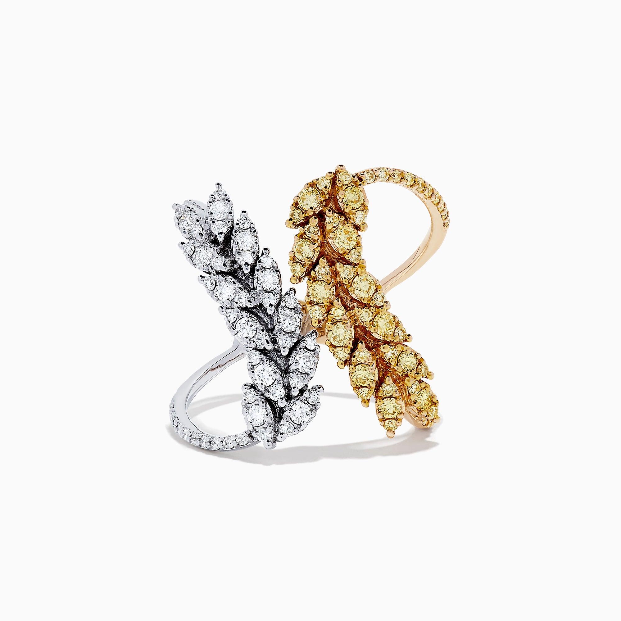 14K Two Tone Gold Yellow Diamond and White Diamond Ring, 1.00 TCW