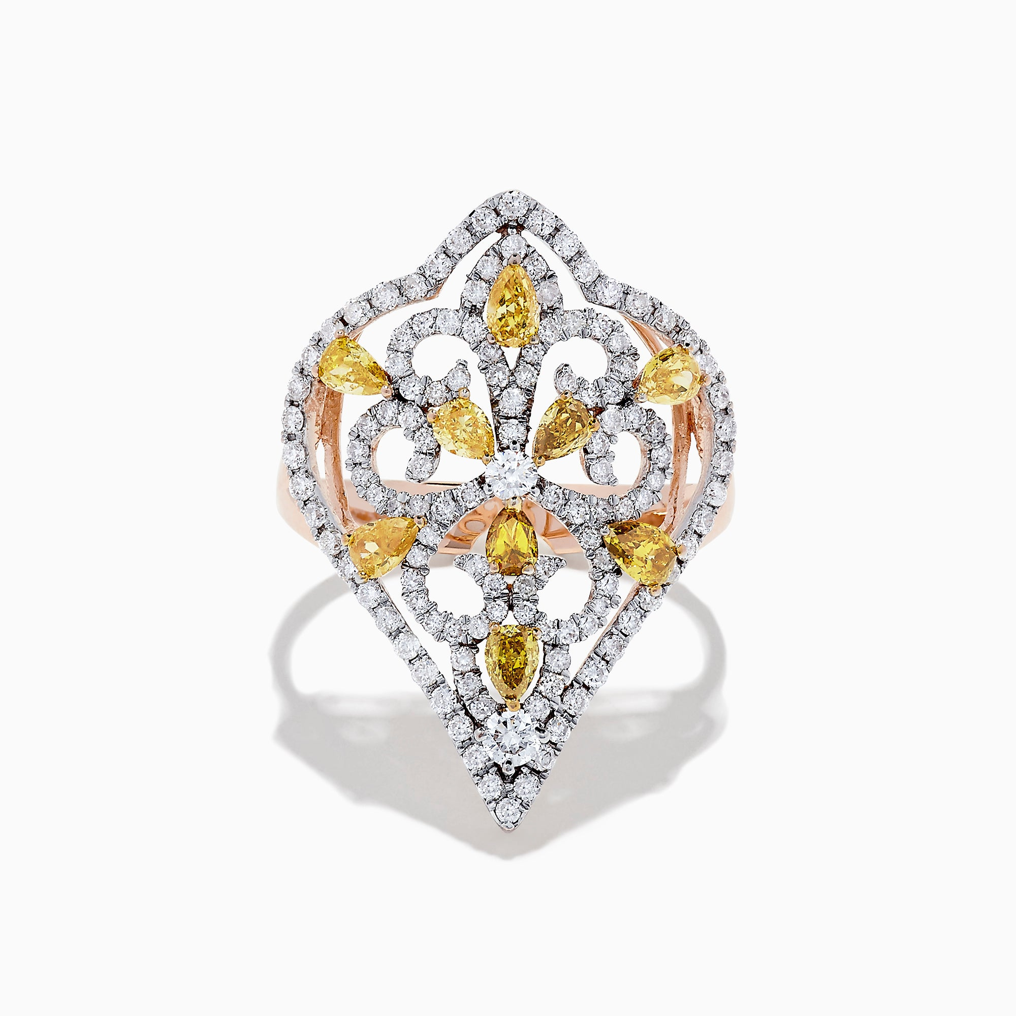 14K Rose Gold Yellow and White Diamond Filagree Ring, 1.55 TCW