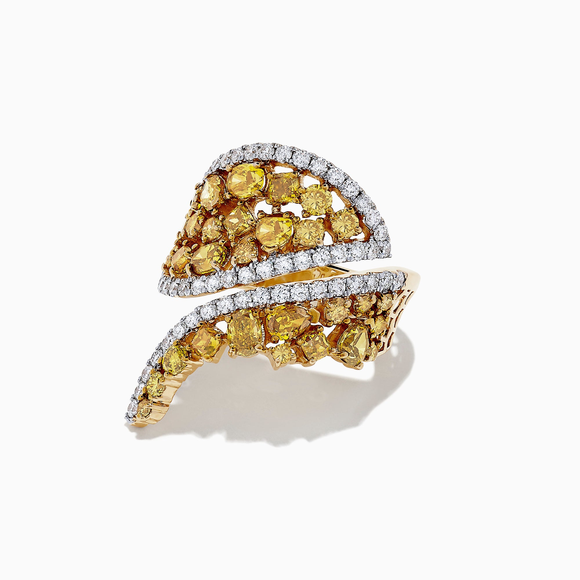 14K Yellow Gold Yellow and White Diamond Wrap Ring, 3.50 TCW