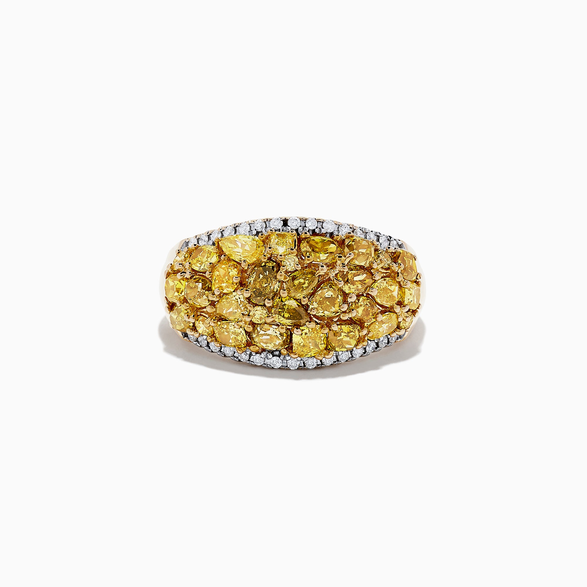 14K Yellow Gold Yellow and White Diamond Ring, 3.00 TCW