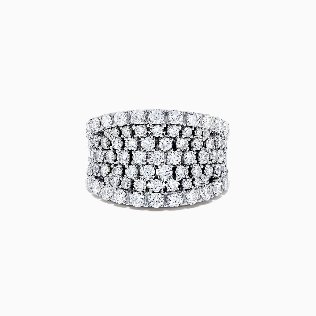 14K White Gold Diamond Wide Band Ring, 3.00 TCW