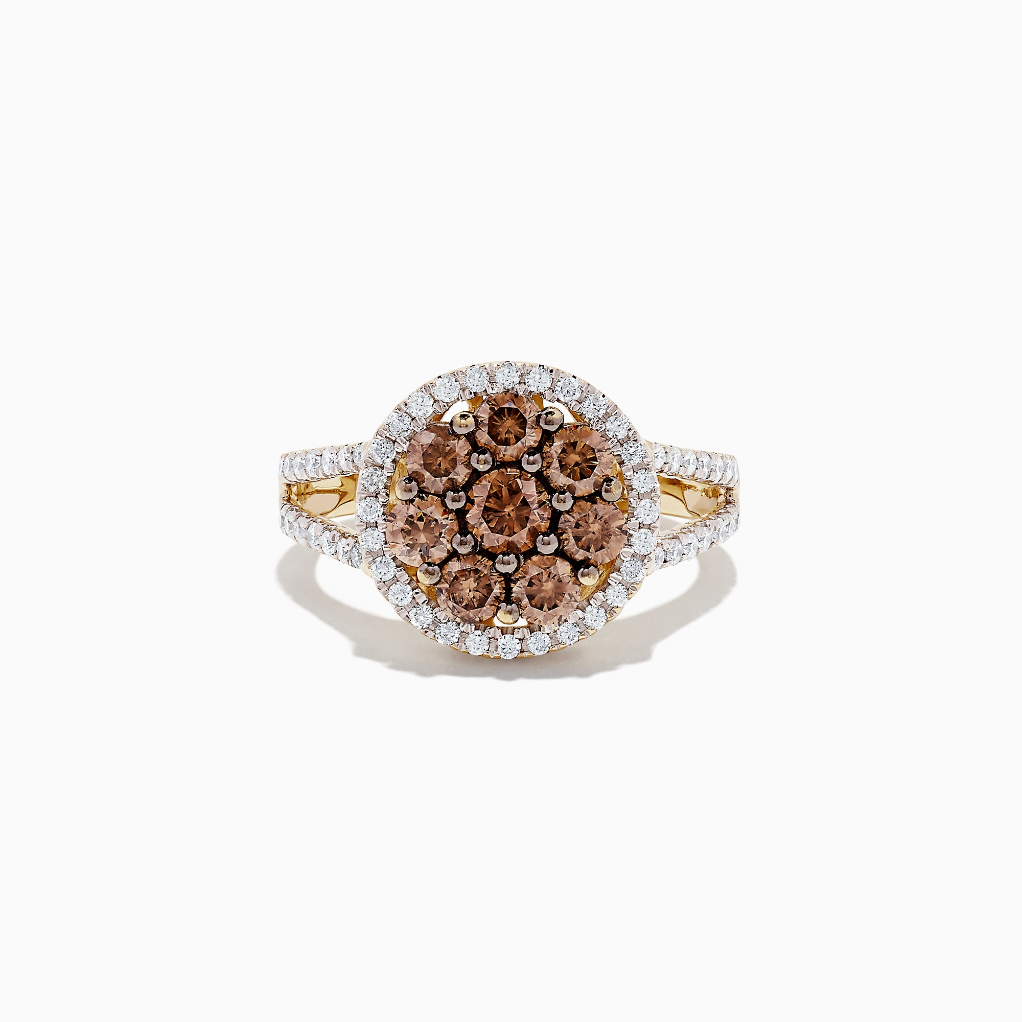 14K Yellow Gold Cognac and White Diamond Ring, 1.45 TCW
