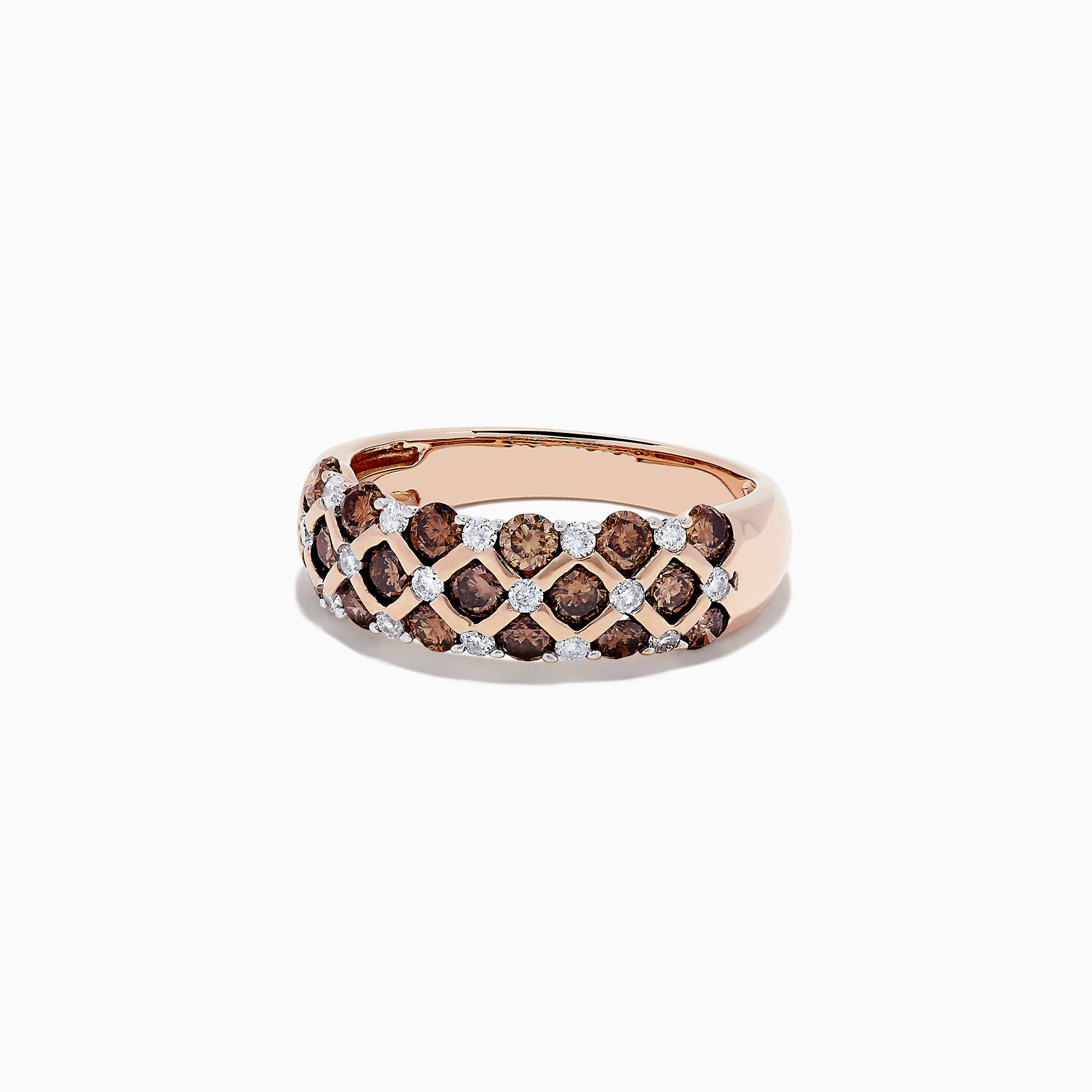14K Rose Gold Cognac and White Diamond Ring, 0.55 TCW