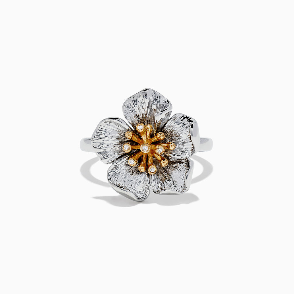Effy Nature Sterling Silver & 18K Gold Diamond Flower Ring, 0.02 TCW