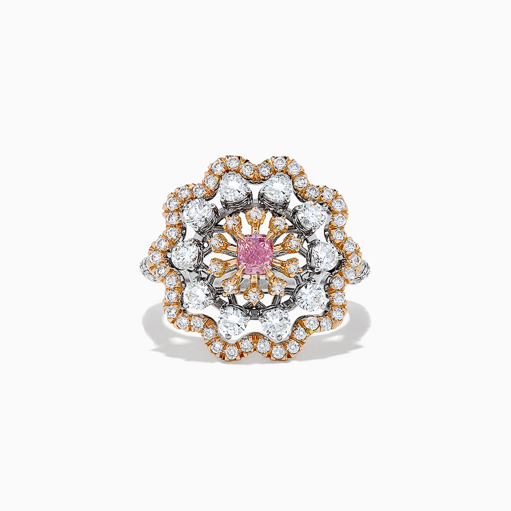14K Two Tone Gold Pink and White Diamond Flower Ring, 1.63 TCW