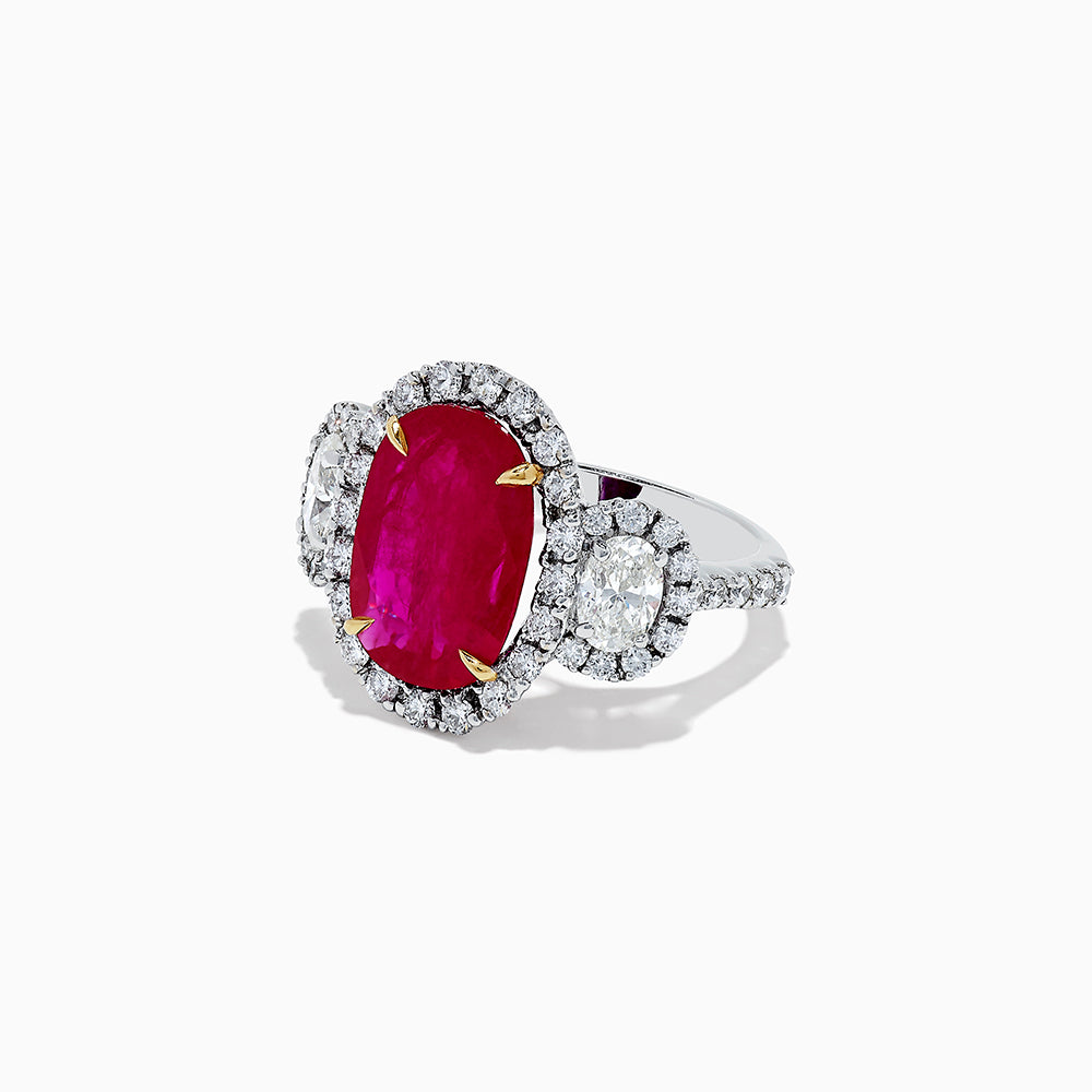 18K White Gold Ruby and Diamond Ring, 7.21 TCW