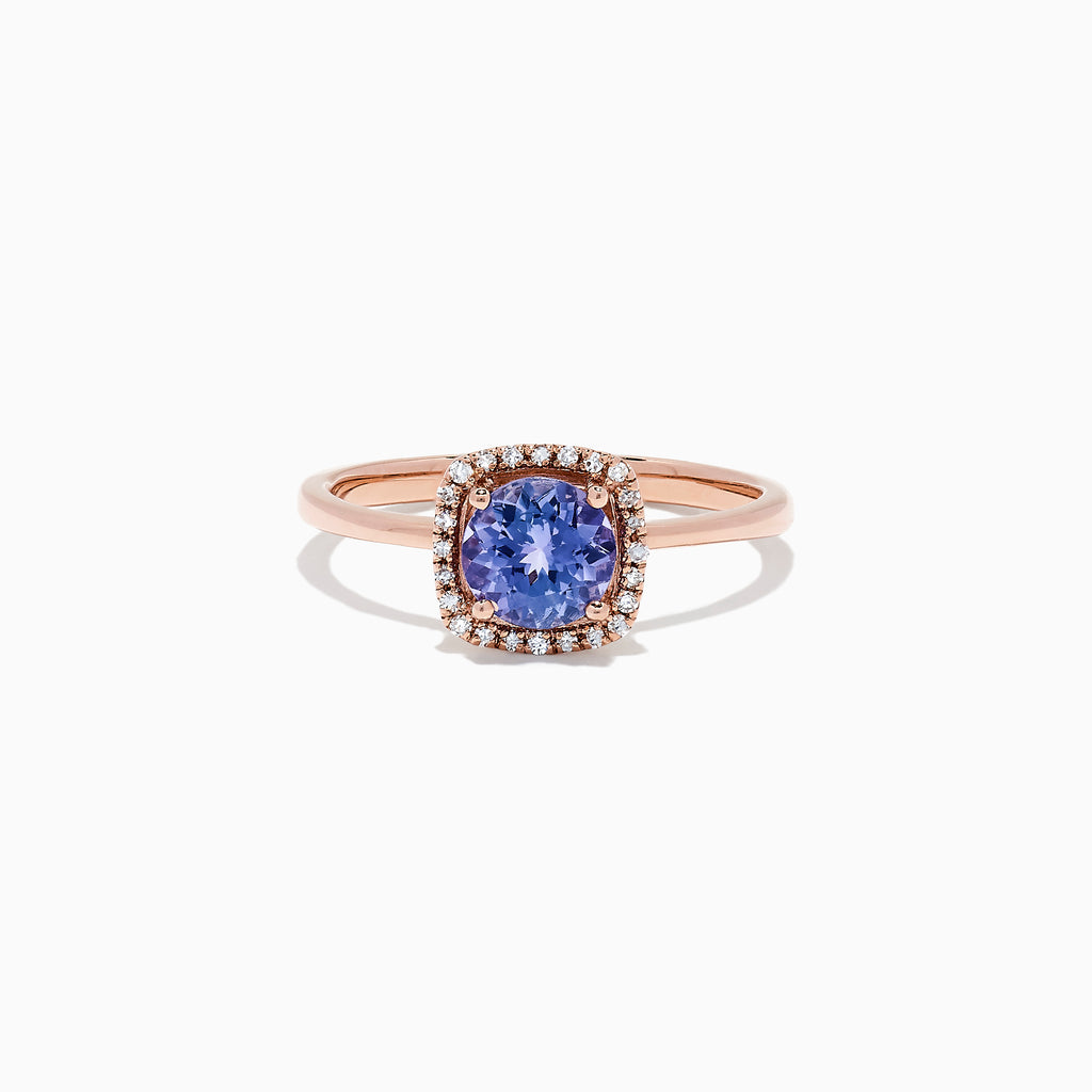 Effy Tanzanite Royale 14K Rose Gold Tanzanite and Diamond Ring, 0.81 TCW