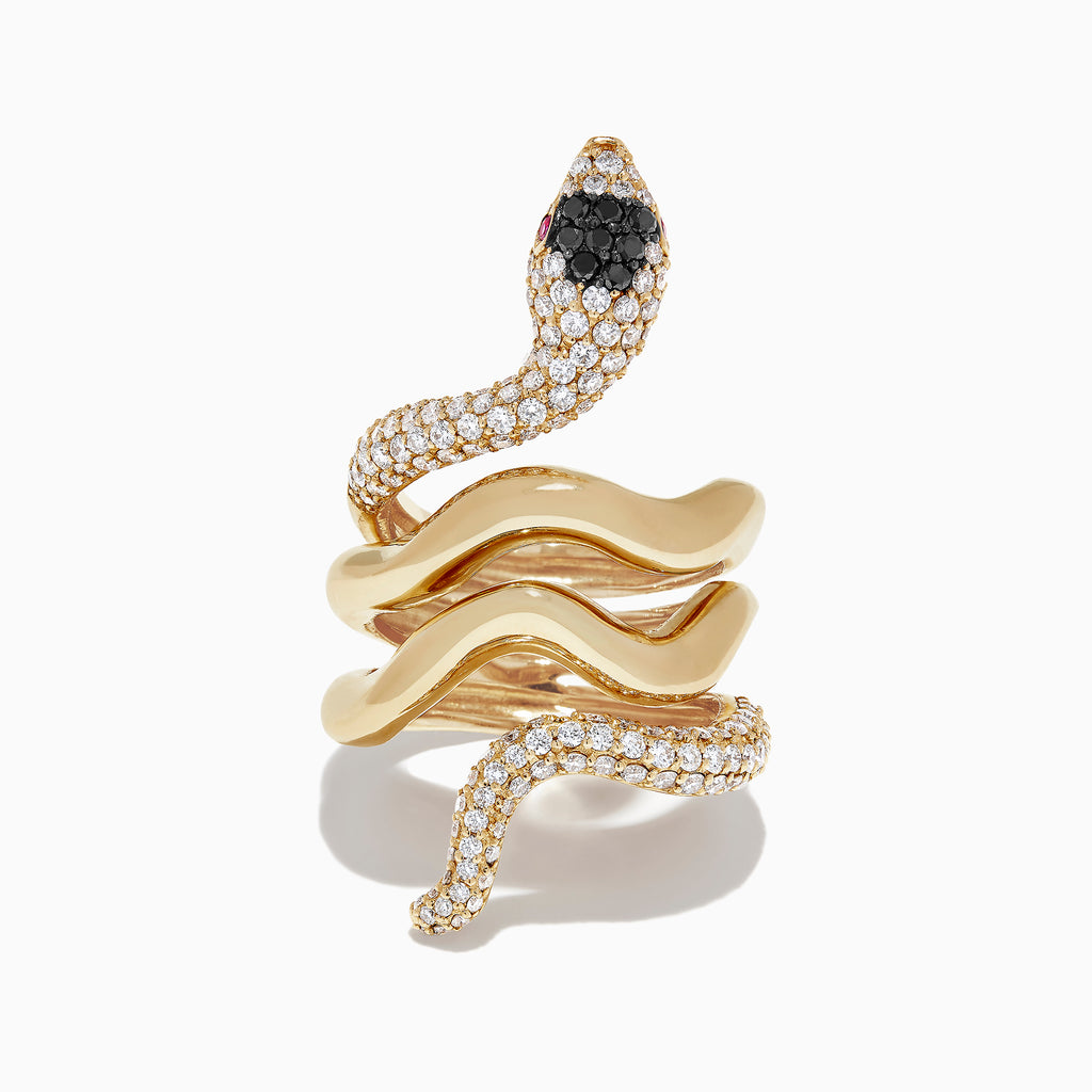 Effy Safari 14K Yellow Gold Diamond and Ruby Snake Ring, 1.50 TCW