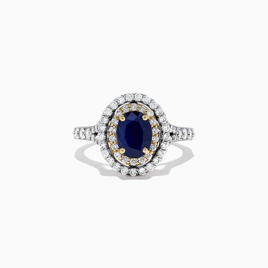 Effy Royale Bleu 14K Two Tone Gold Sapphire and Diamond Ring, 2.22 TCW