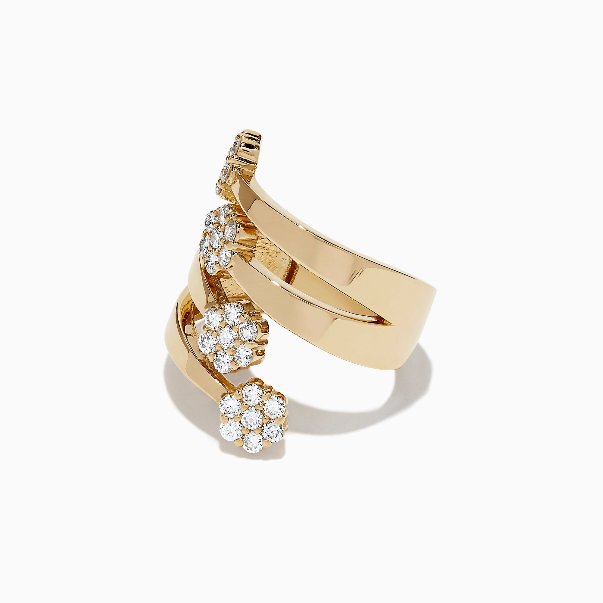 Effy D'Oro 14K Yellow Gold Diamond Clusters Ring, 0.82 TCW