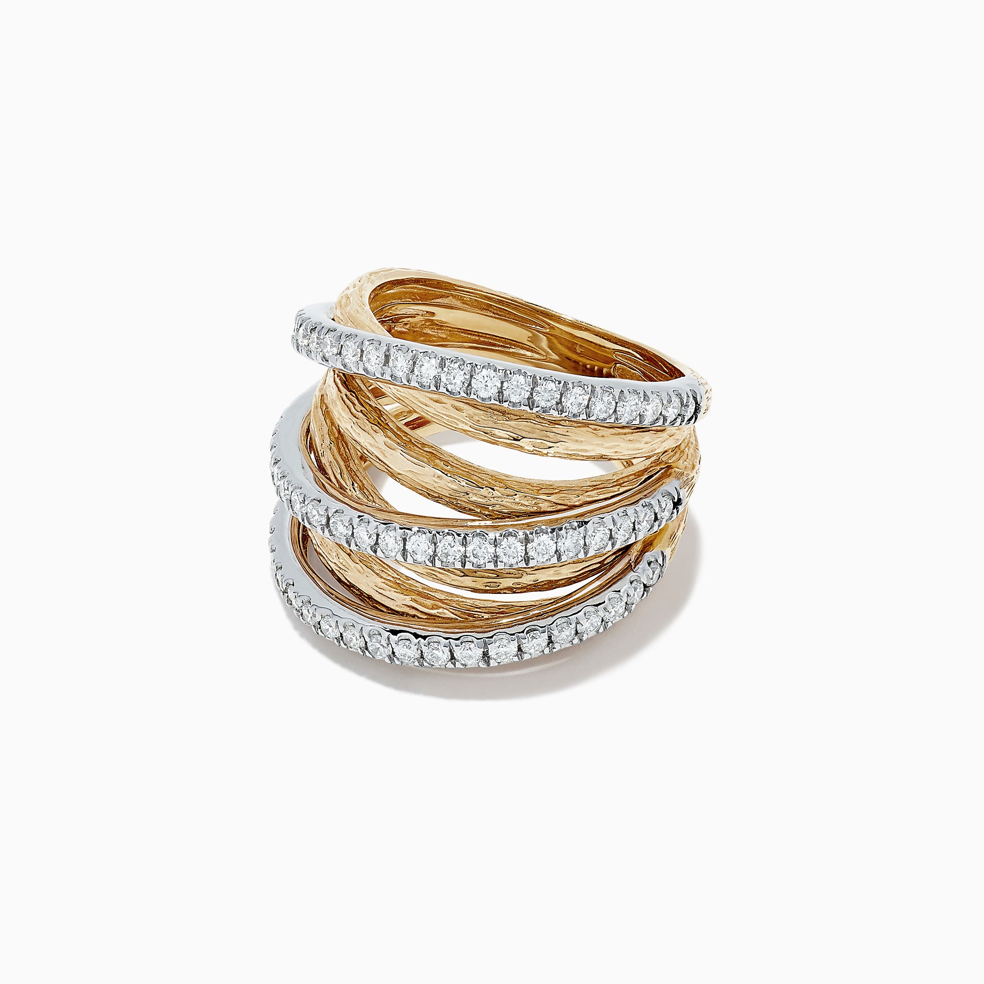 Effy Duo 14K Two Tone Gold Diamond Crossover Ring, 0.97 TCW