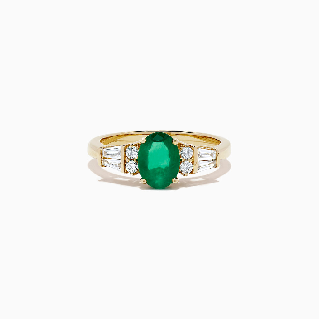 Effy Brasilica 14K Yellow Gold Emerald and Diamond Ring, 1.39 TCW