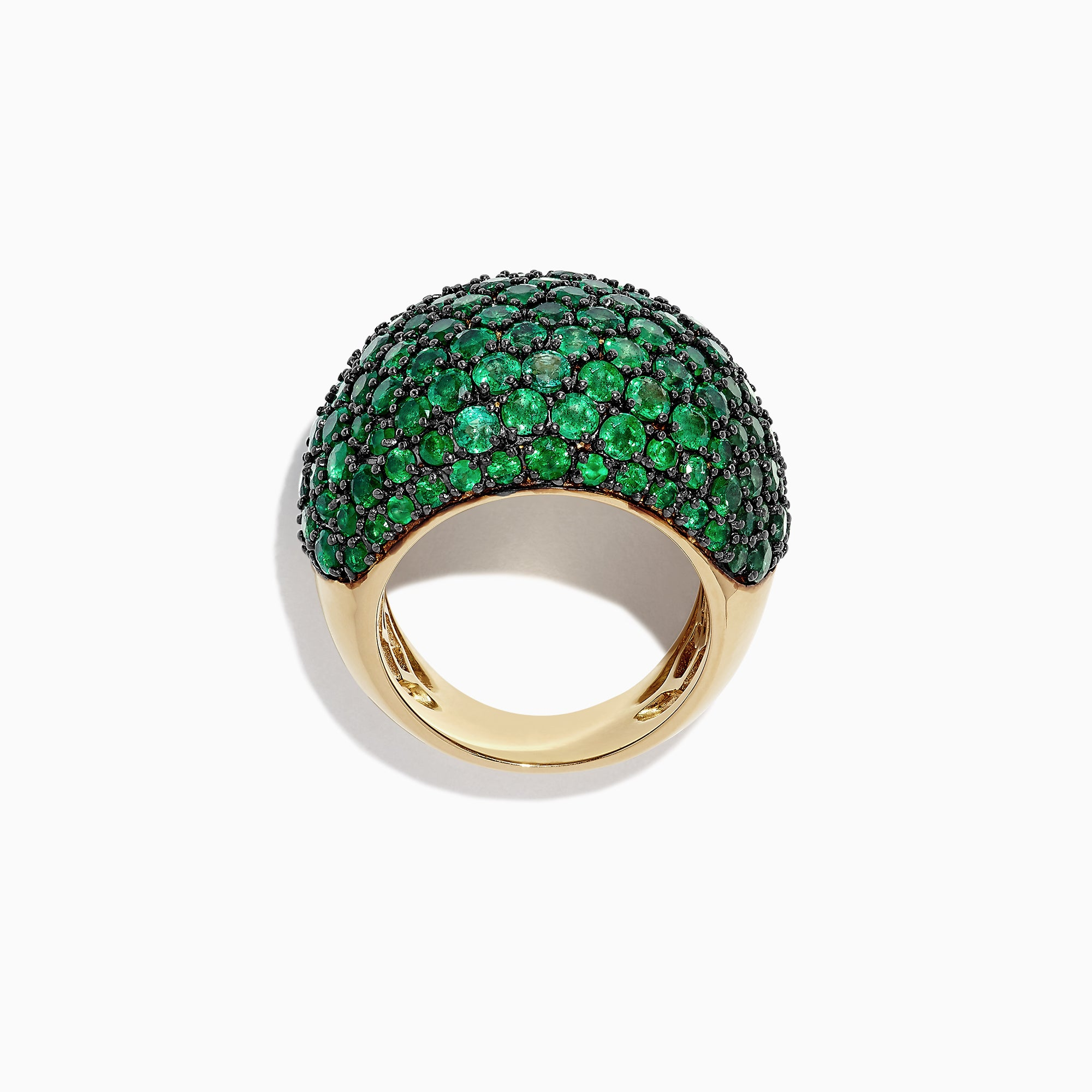 Effy Brasilica 14K Yellow Gold Emerald Pave Dome Ring, 7.70 TCW