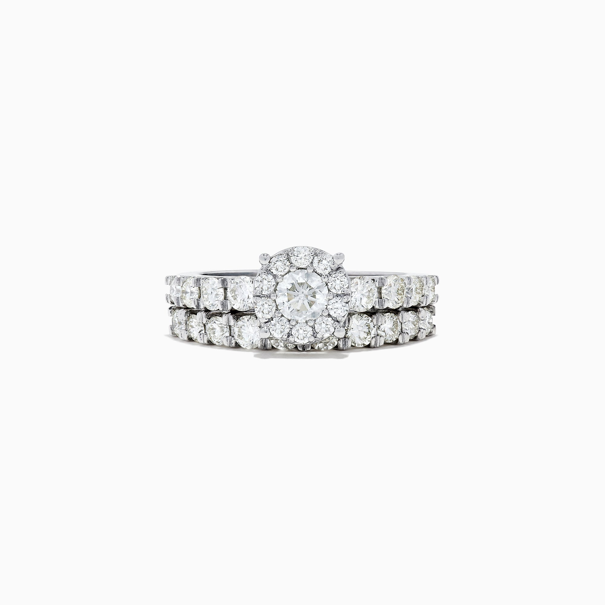 Effy Bridal 14K White Gold Diamond Cluster Ring and Band Set, 1.77 TCW