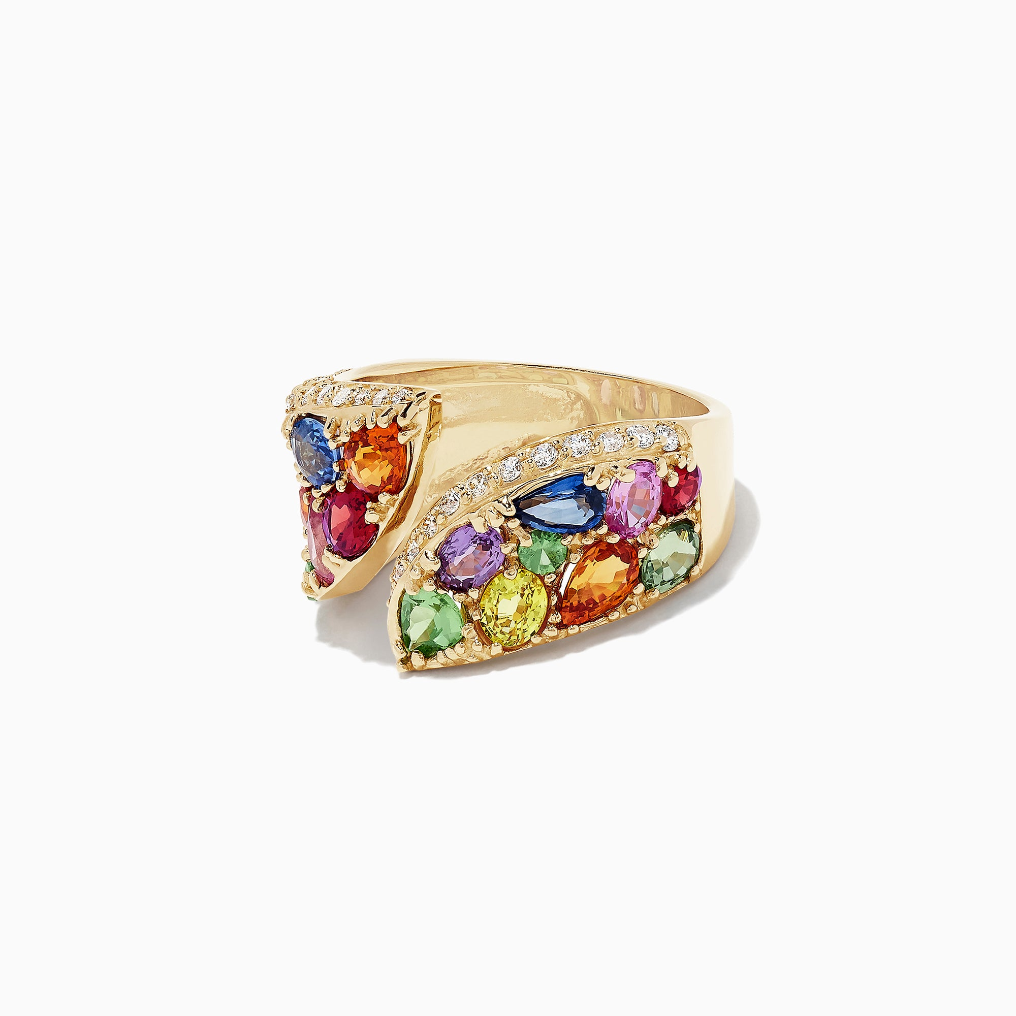 Effy Watercolors 14K Yellow Gold Multi Sapphire and Diamond Ring, 5.11 TCW