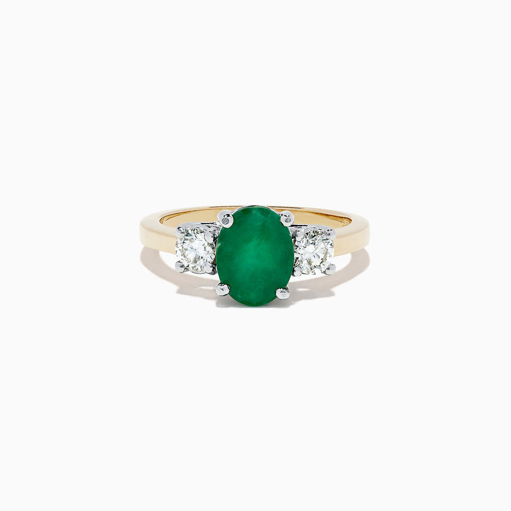 Effy Brasilica 14K 2-Tone Gold Emerald and Diamond Ring, 2.01 TCW