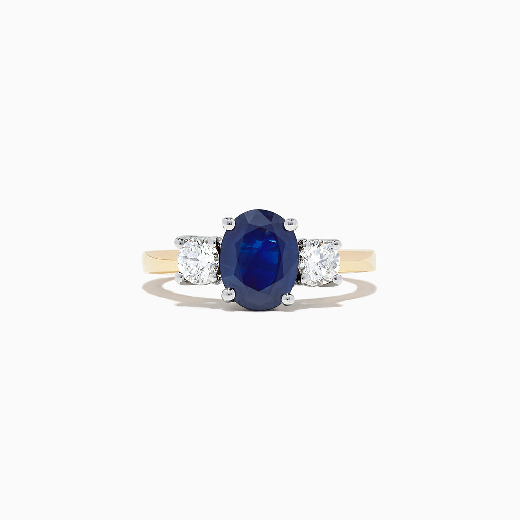 Effy Royale Bleu 14K Two Tone Gold Sapphire and Diamond Ring, 2.39 TCW